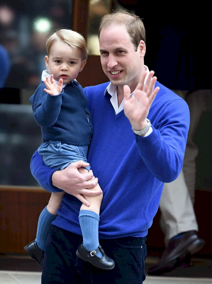 Image Credit: Getty Images / rince William, Duke of Cambridge, and Prince George arrive at the Lindo Wing at St. Mary's Hospital on May 02, 2015 in London, England.