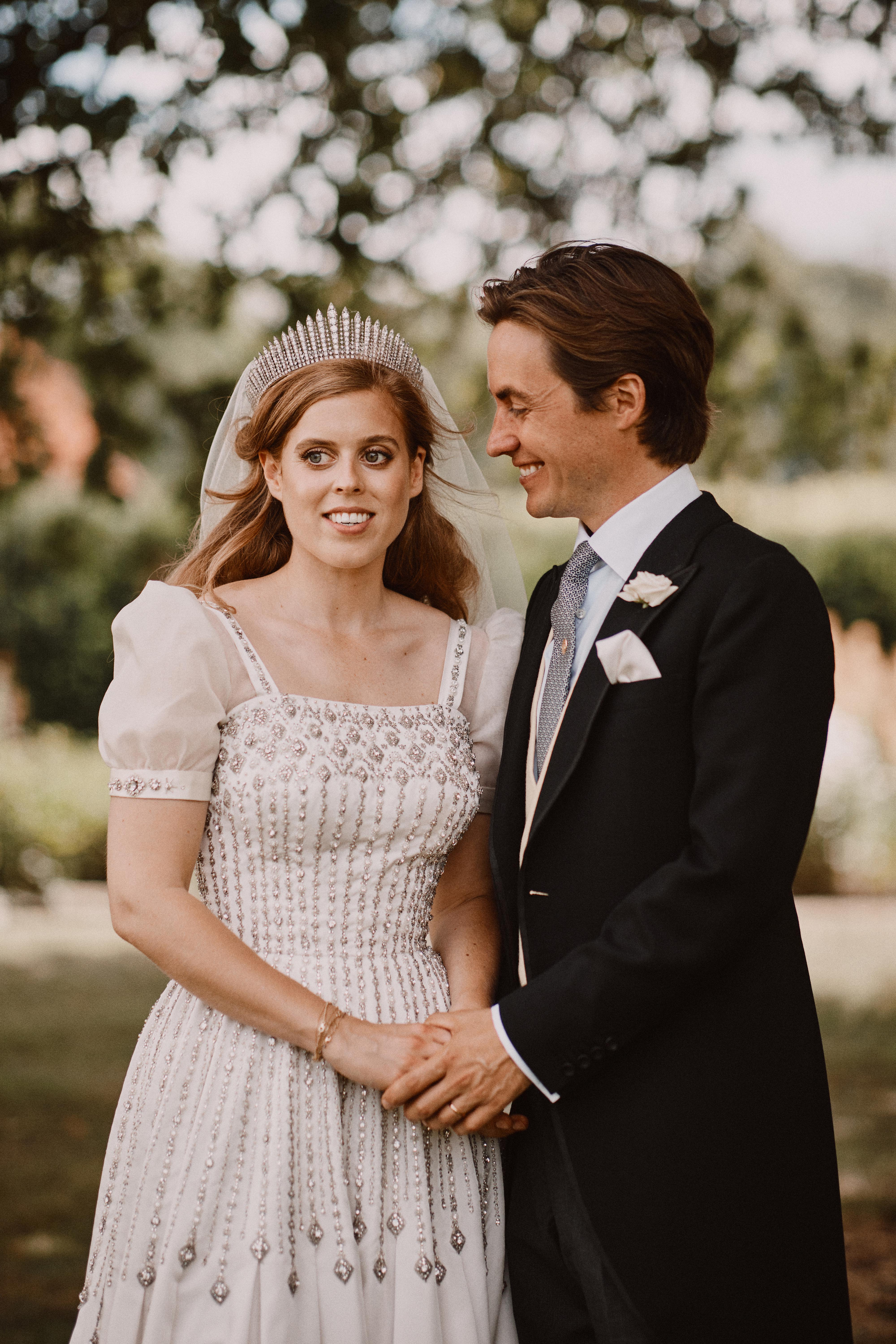 Image Source: Getty Images/Princess Beatrice and Edoardo Mapelli Mozzi are photographed after their wedding in the grounds of Royal Lodge on July 18, 2020