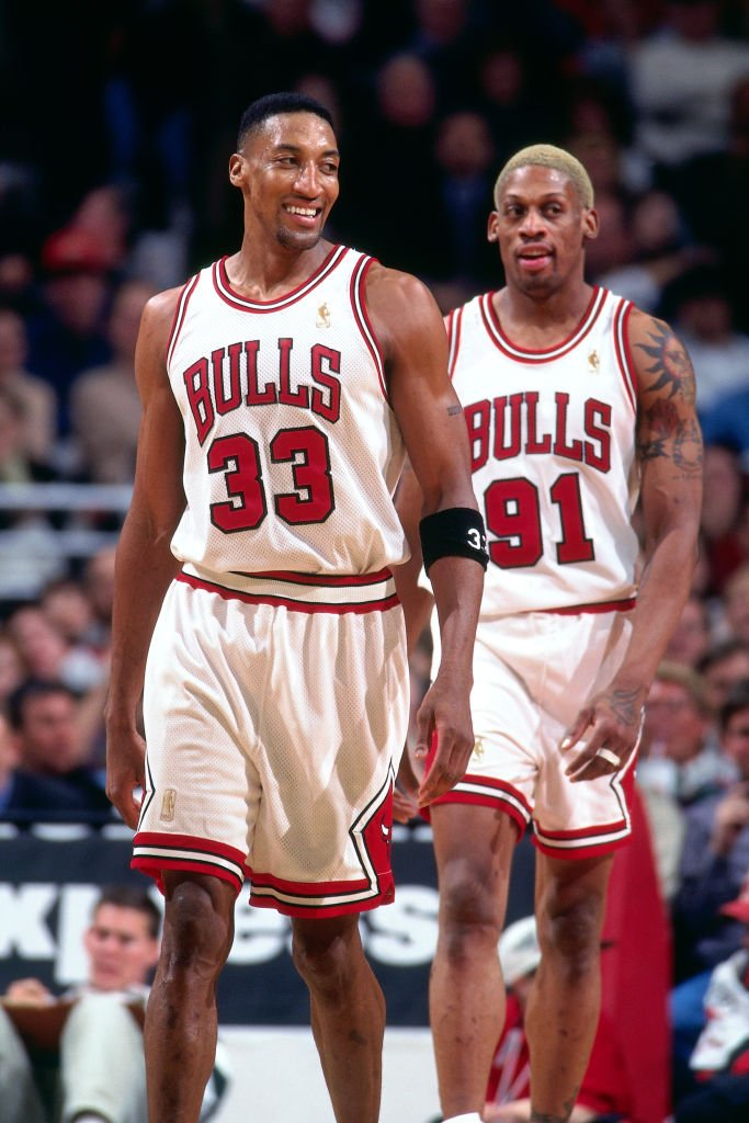 Image Credits: Getty Images / Sam Forencich / NBAE | Scottie Pippen #33, and Dennis Rodman #91 of the Chicago Bulls are seen during the game against the Portland Trail Blazers on February 24, 1997 at the United Center in Chicago, IL.