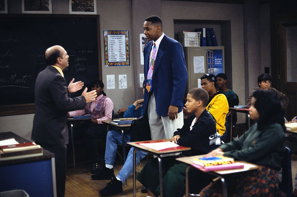 "Image Credits: Getty Images / Walt Disney Television | Luis Avalos (as Principal Rivas) and Mark Curry (as Mr. Cooper) star in the T.V series ""Hanging with Mr. Cooper."" A single high school teacher and basketball coach living in Oakland, California."