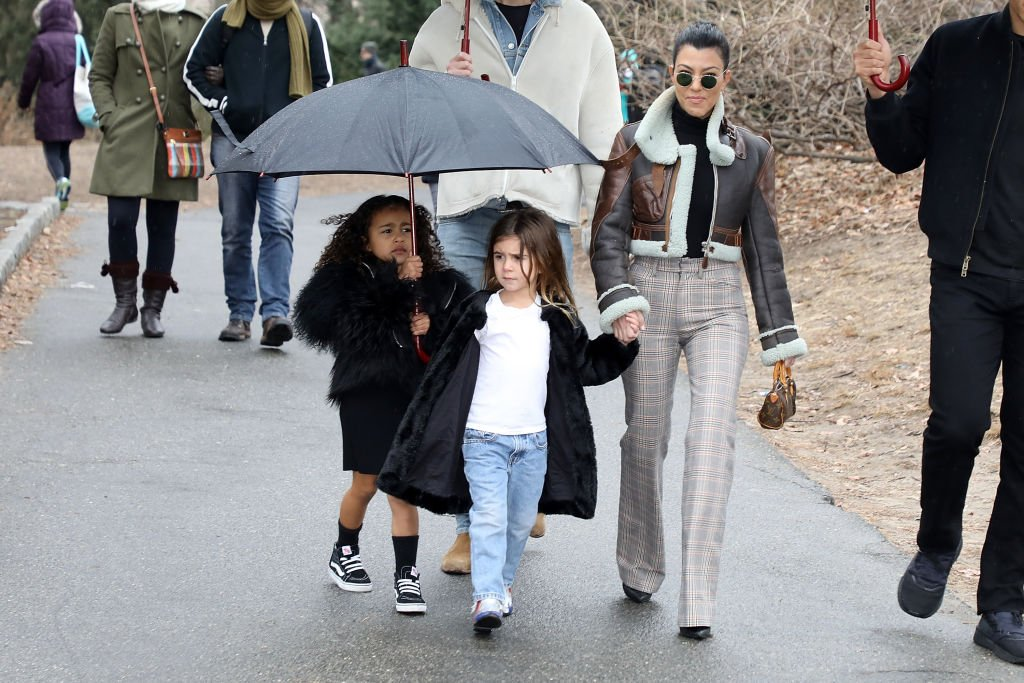 Image Credit: Getty Images / Kourtney Kardashian is seen with her daughter Penelope and her niece North West in central Park on February 4, 2018 in New York City.