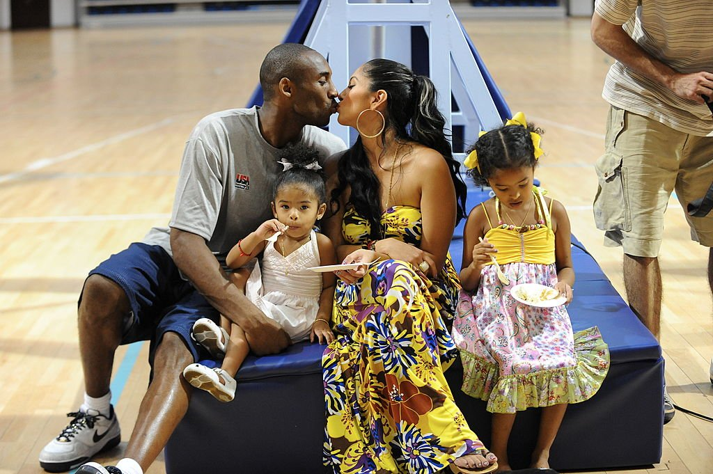 Image Source: Getty Images/Jesse D. Garrabrant/Kobe Bryant #10 of the U.S. Men's Senior National Team celebrates his birthday with his family, Nyla, Vanessa and Natalia during practice at the 2008 Beijing Summer Olympics on August 23, 2008