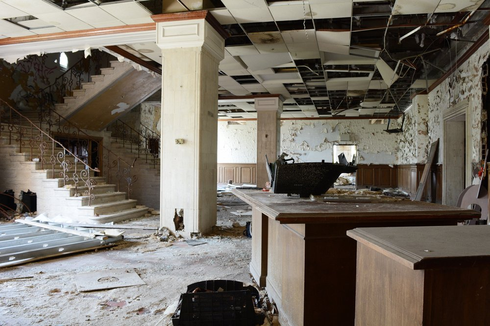 Lobby of Abandoned Office Building In Detroit  | Shutterstock