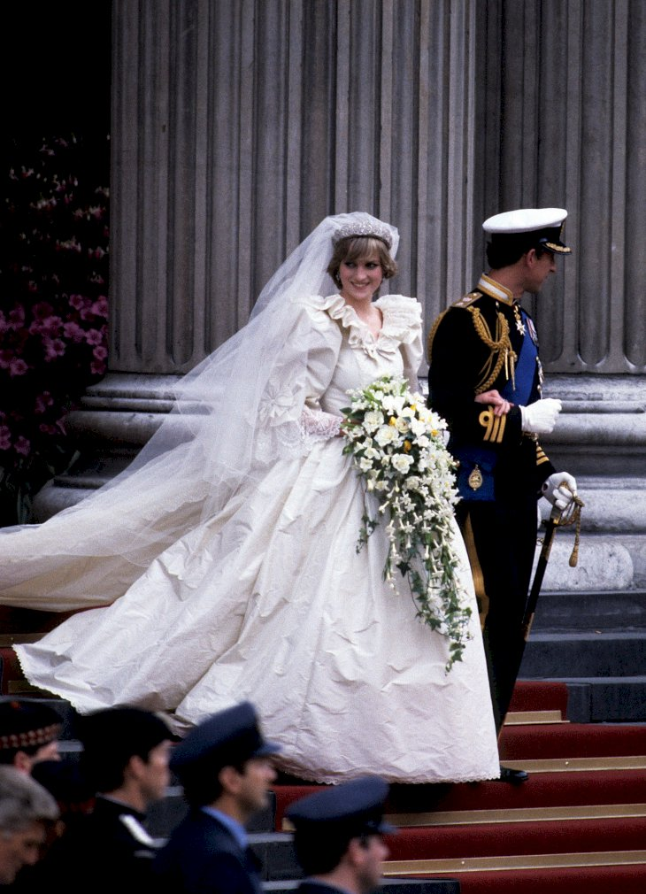 Image Credit: Getty Images / Princess Diana on her wedding day with her husband, Prince Charles.