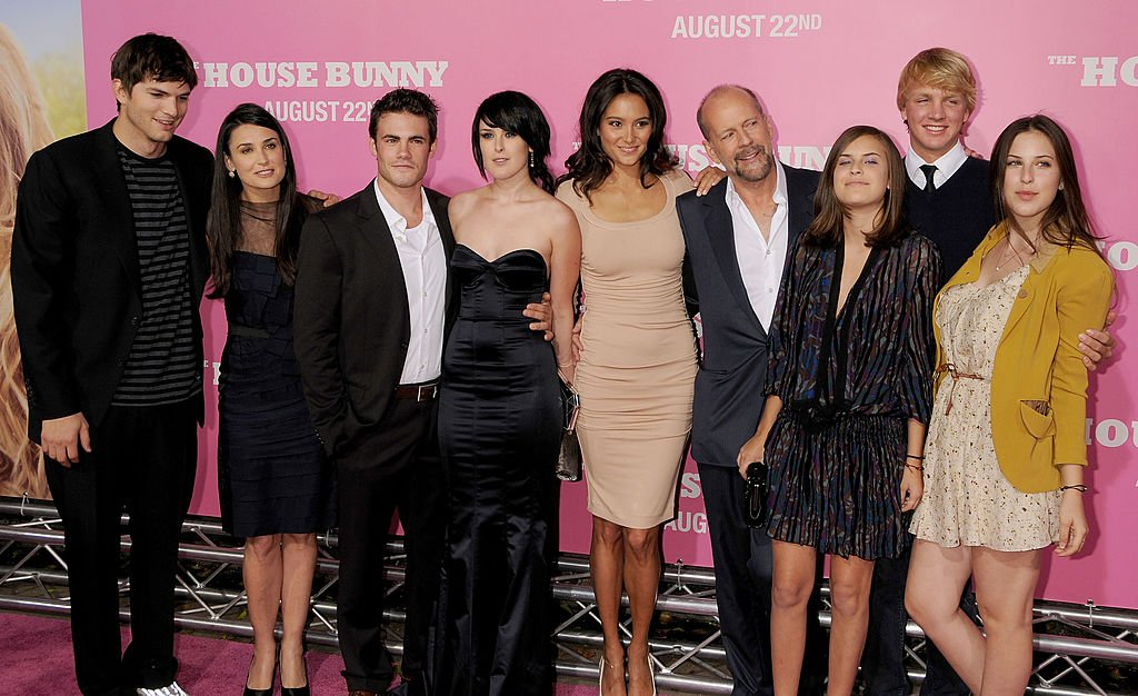 """Image Source: Getty Images/Gregg DeGuire/Actor Ashton Kutcher, Actress Demi Moore, Micah Alberti, Actress Rumer Willis, Emma Heming, Actor Bruce Willis and Scout and Tallulah Willis arrive at Sony Pictures' Premiere of """"House Bunny"""" at the Mann Village Theatre on August 14, 2008 in Los Angeles, California"""