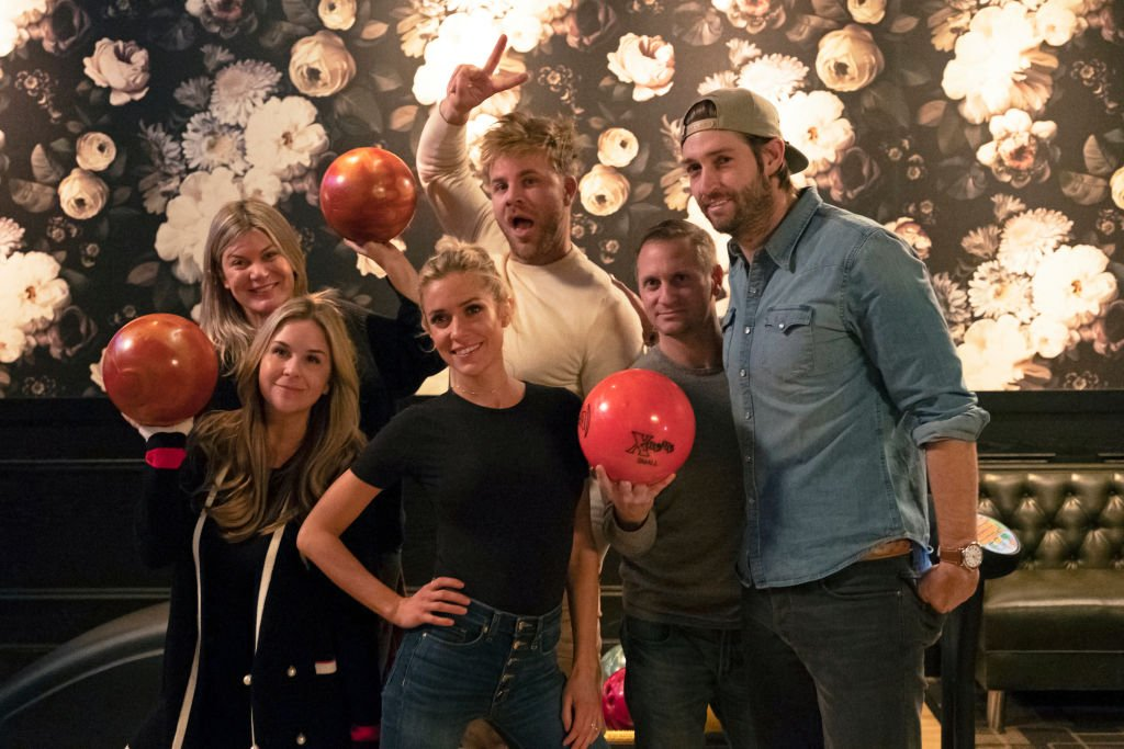 "Image Credits: Getty Images / Jake Giles Netter / E! Entertainment / NBCU Photo Bank / NBCUniversal | Very Cavallari, Episode 206 ""The One Where Jay Goes Cray"" --- Pictured: (l-r) Philippa Whitefield Pomeranz, Stephanie Biegel, Kristin Cavallari, Justin Anderson, Mark Block aka Chuy, Jay Cutler."