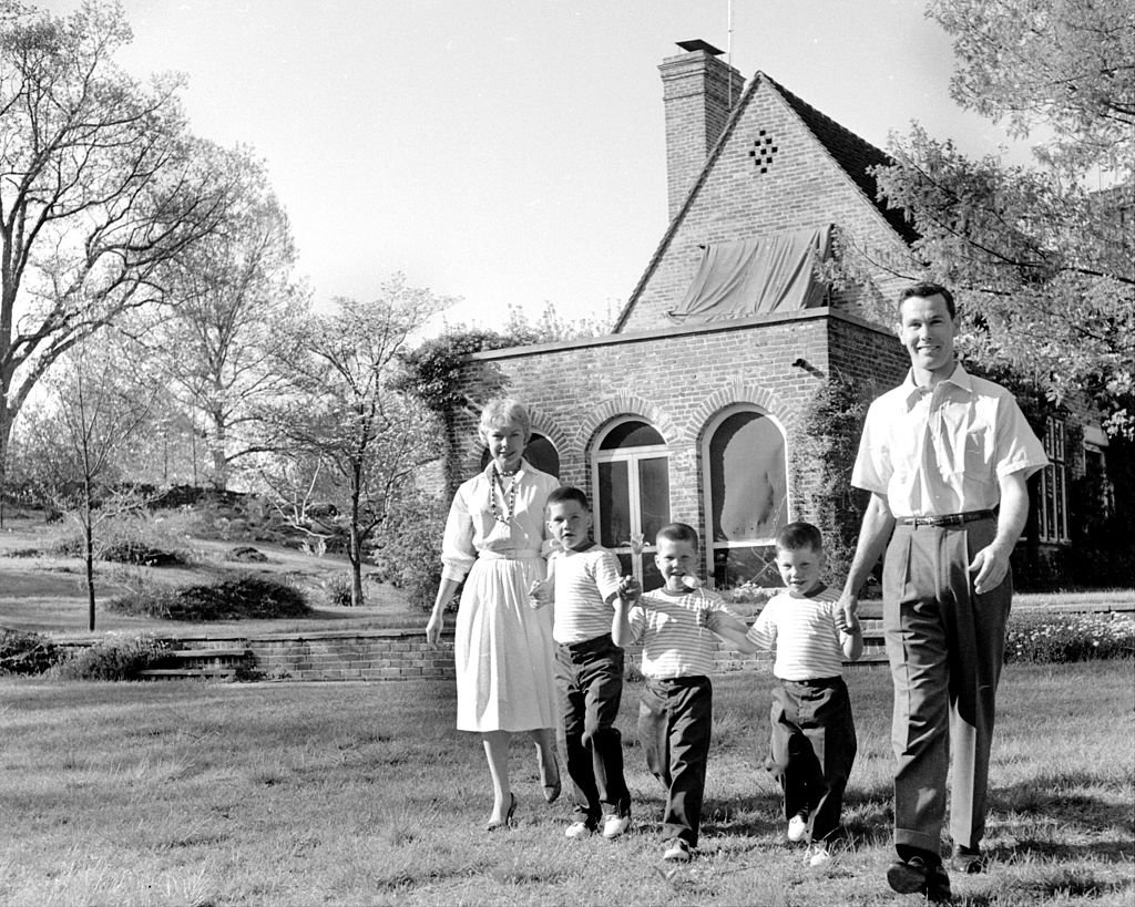 Image Credits: Getty Images / NY Daily News Archive | Johnny and his wife, Jody, with their sons, Kit, 7, Ricky, 6, and Cory, 4, walking around their almost 4 acres of land.