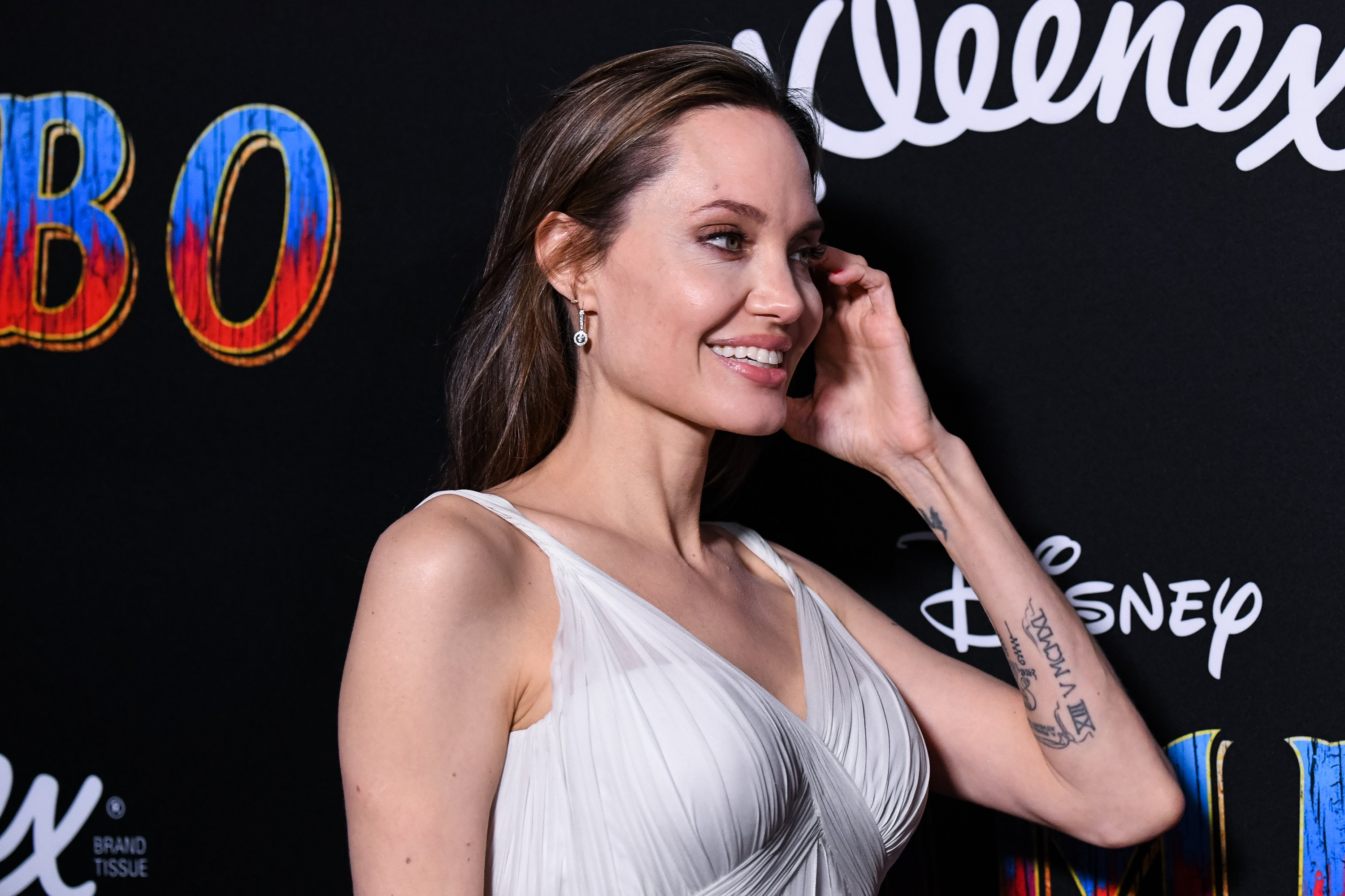 Image Source: Getty Images/Jolie at the Dumbo premiere event