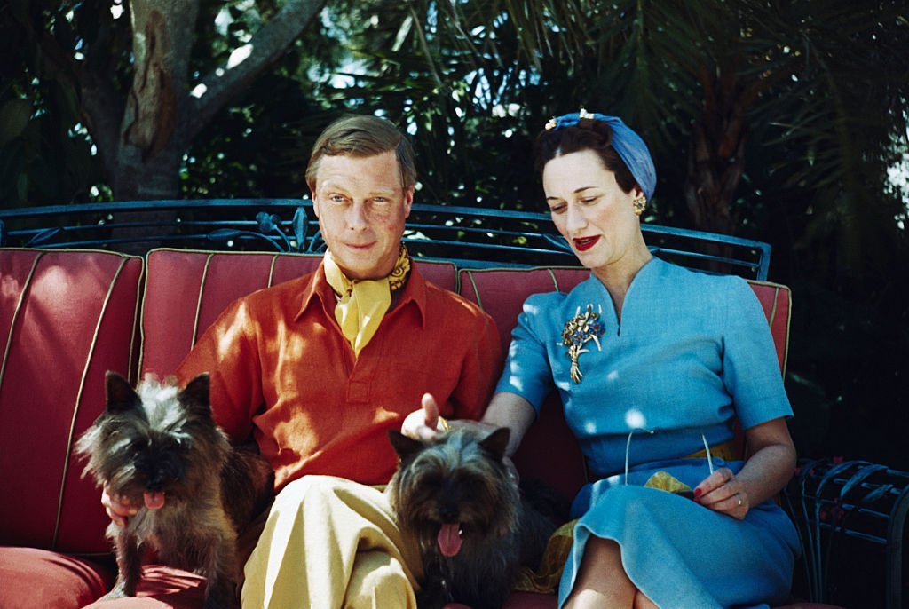Image Source: Getty Images/Bettmann/The Duke and Duchess of Windsor seated outdoors with two small dogs