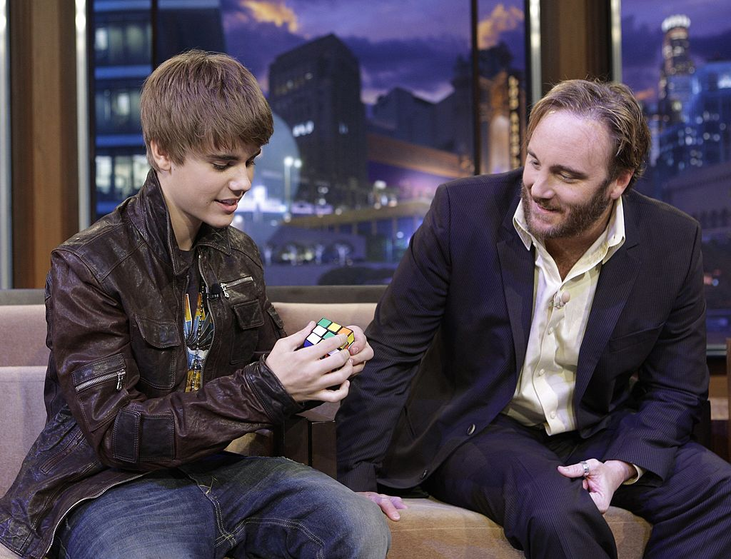 Image Credit: Getty Images / Justin Bieber, actor Jay Mohr during a commercial break on January 28, 2011.