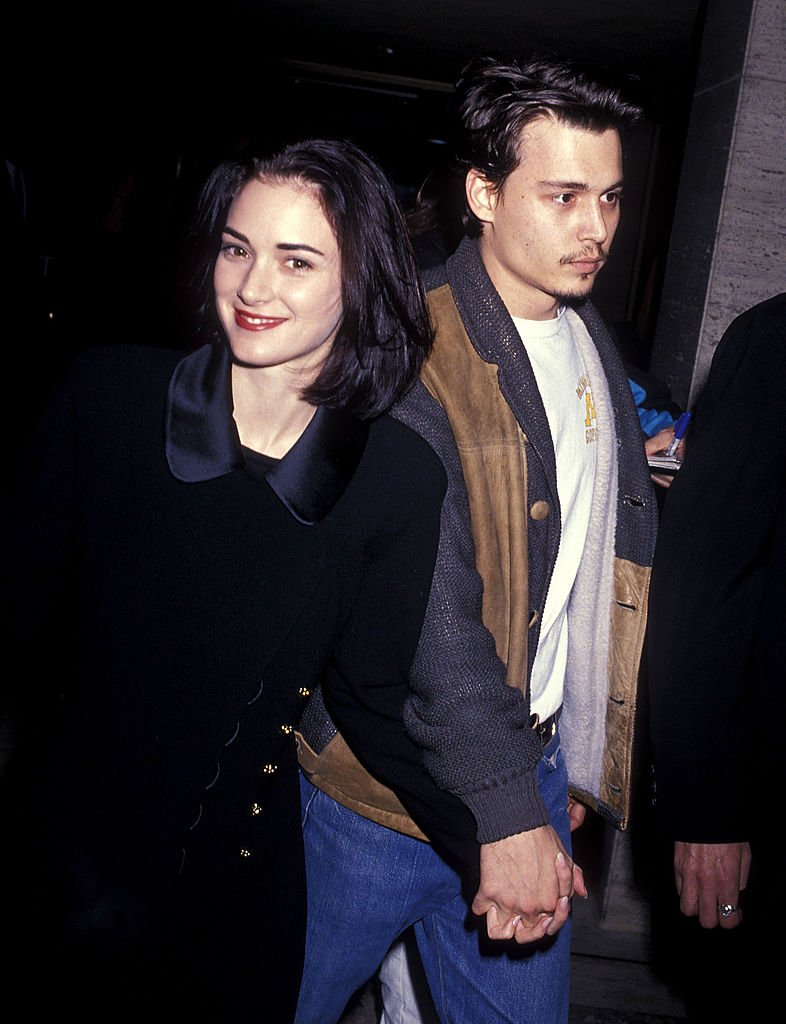 "Image Source: Getty Images/Ron Galella, Ltd./Actress Winona Ryder and actor Johnny Depp attend ""The Silence of the Lambs"" Century City Premiere on February 1, 1991 at Cineplex Odeon Century Plaza Cinemas in Century City, California"