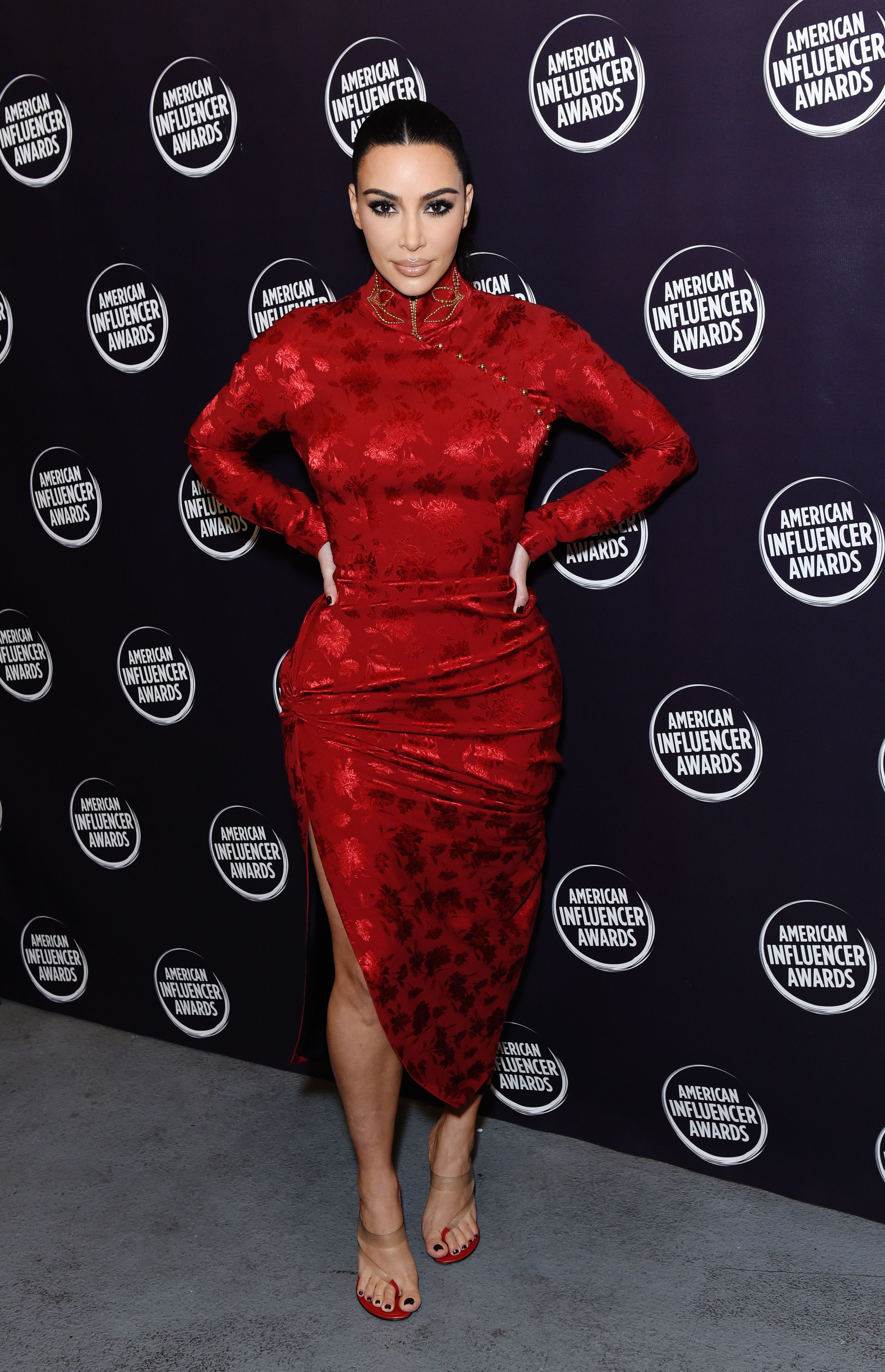 Kim Kardashian at the 2nd Annual American Influencer Awards / Getty Images