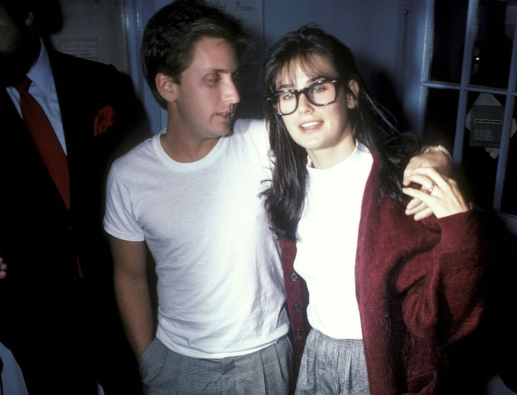 Image Source: Getty Images/Ron Galella, Ltd./Actor Emilio Estevez and actress Demi Moore attend 'The Early Girl' Off-Broadway Preview Play Performance on October 9, 1986 at Circle Repertory Theatre in New York City