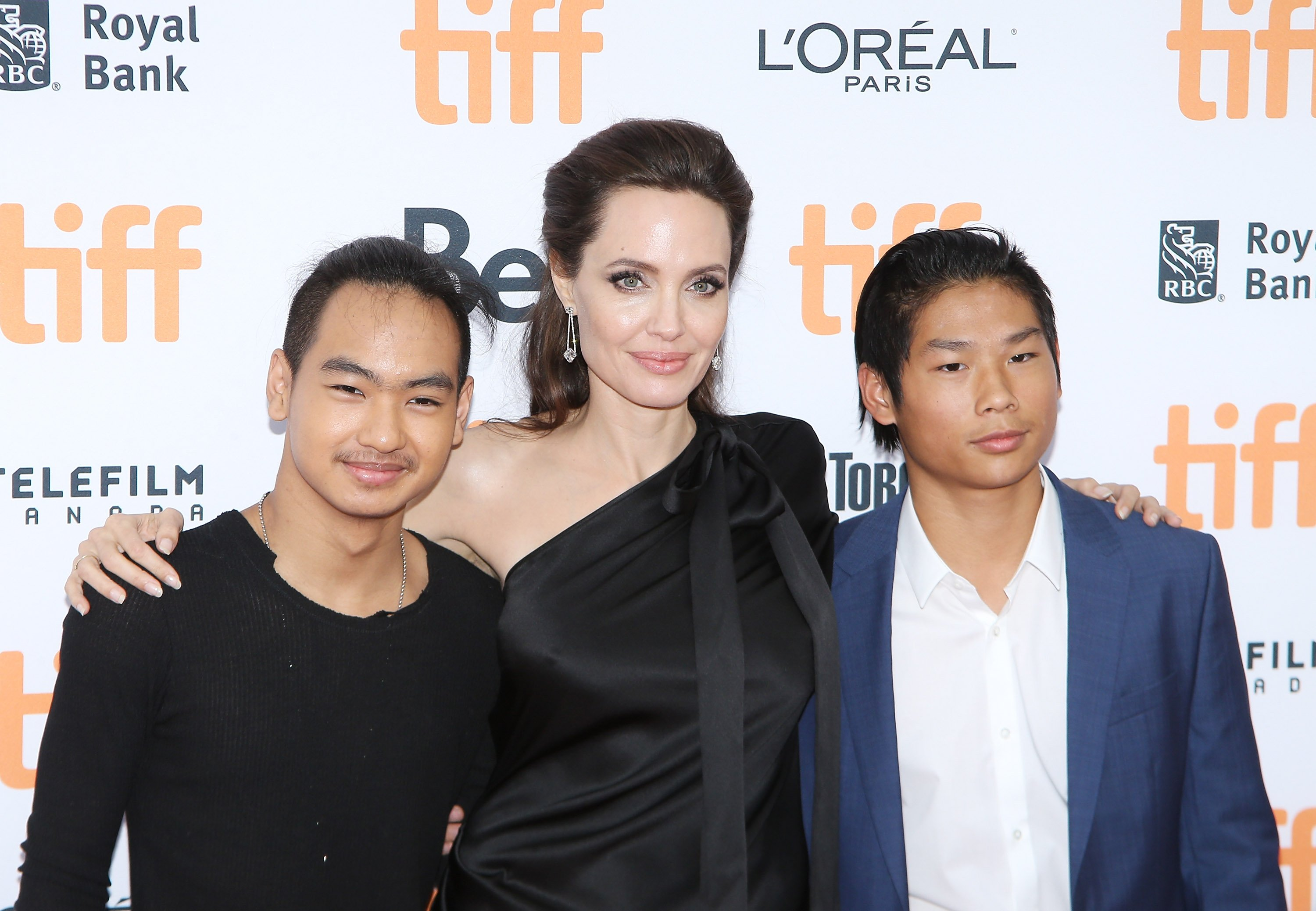 Image Source: Getty Images/Angelina with the two boys