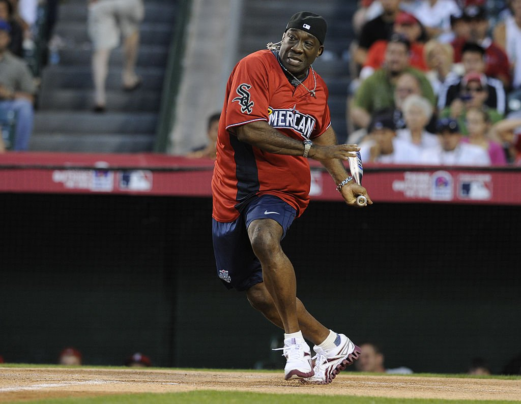 Image Credit: Getty Images / Michael Clarke Duncan bats during to the 2010 All-Star Legends & Celebrity Softball Game at Angel Stadium on Sunday, July 11, 2010, in Anaheim, California.