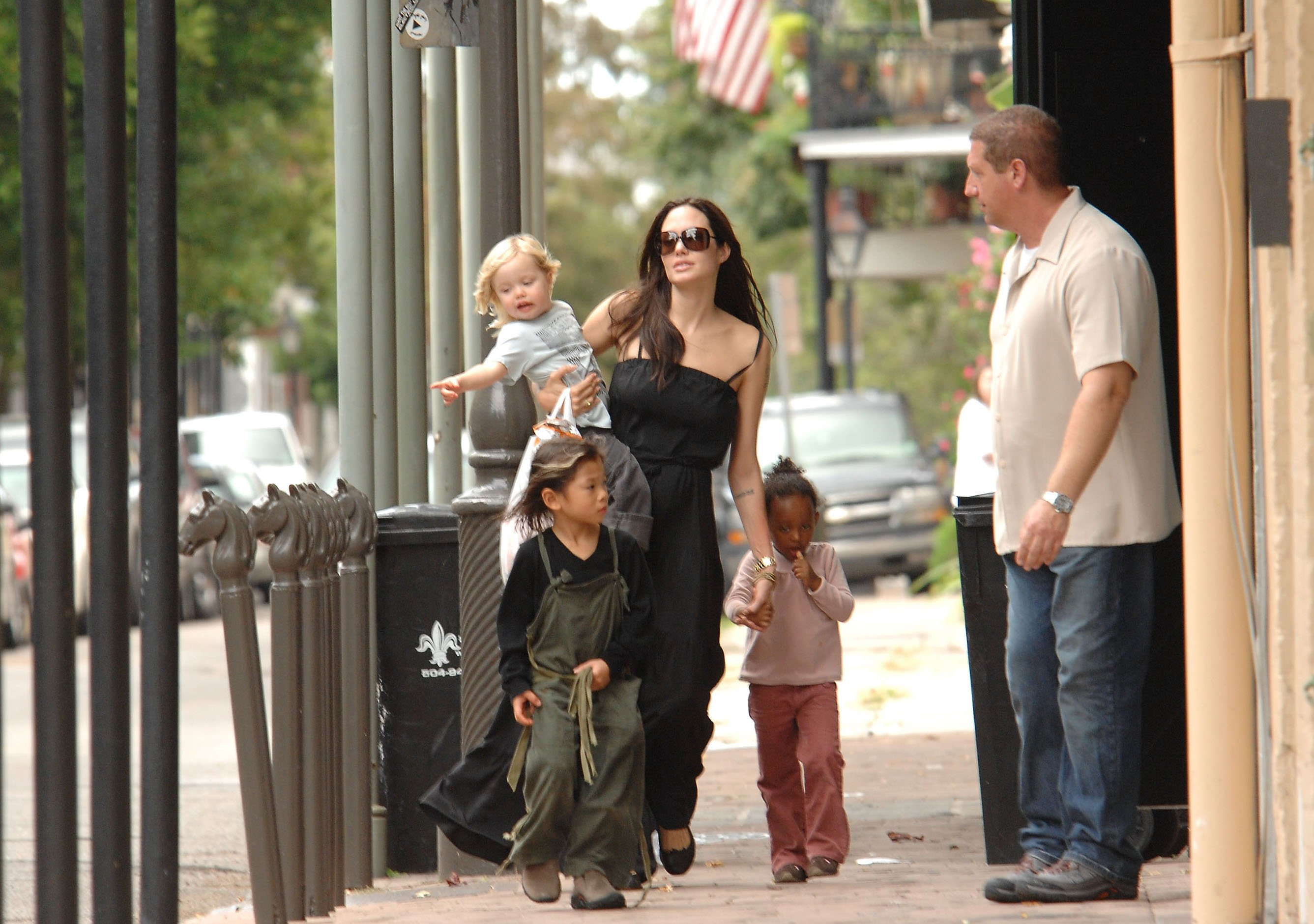 Image Credit: Getty Images/FilmMagic/Chris Wolf | Angelina with Zahara, Pax, and Shiloh in New Orleans in 2008