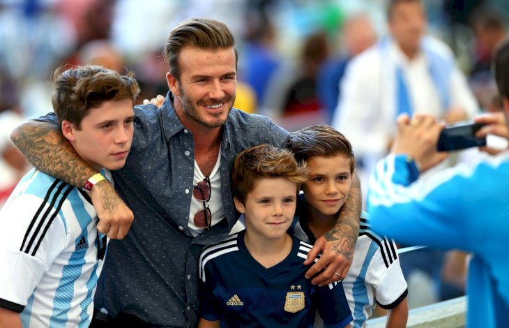 David Beckham and his sons Brooklyn, Romeo and Cruz/Photo:Getty Images