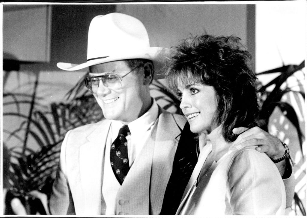 Image Credit: Getty Images / Larry Hagman and Linda Gray, Stars of the television show Dallas at a press conference at the Regent Hotel. April 23, 1985.
