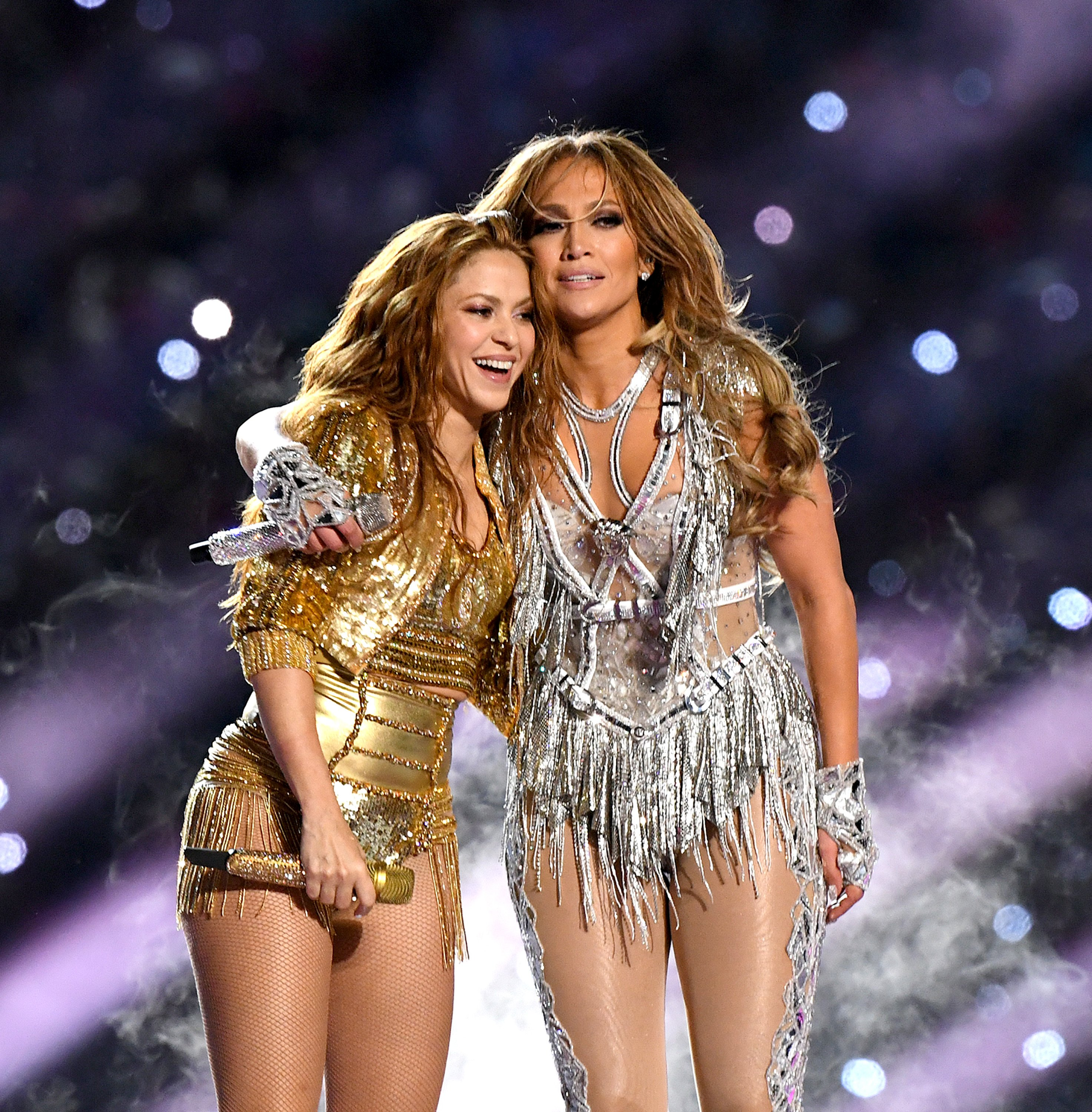 Image Credit: Getty Images / Shakira and Jennifer Lopez after performing at the Super Bowl LIV Halftime Show.