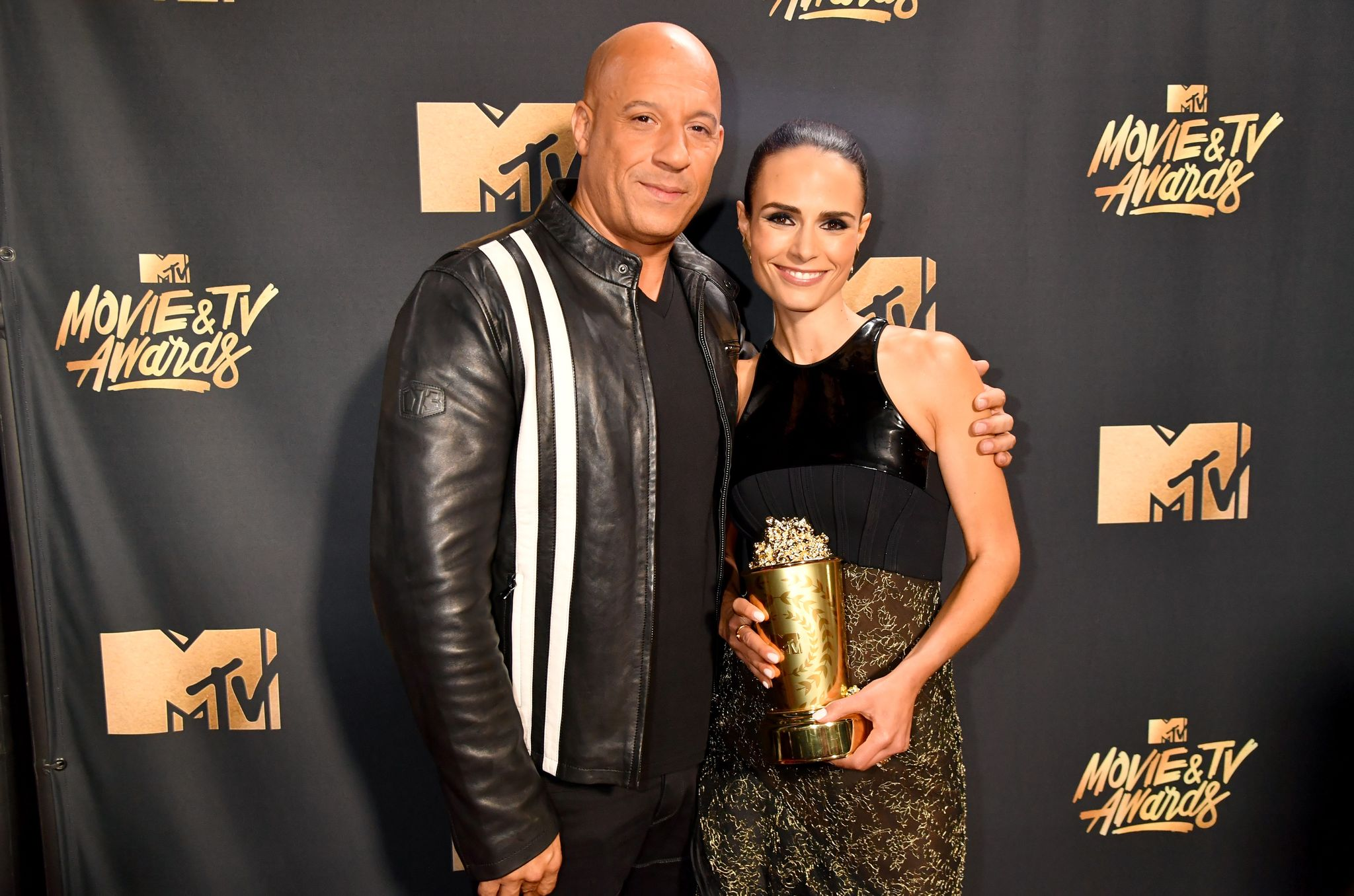 Actors Vin Diesel and Jordana Brewster attend the 2017 MTV Movie And TV Awards / Getty Images