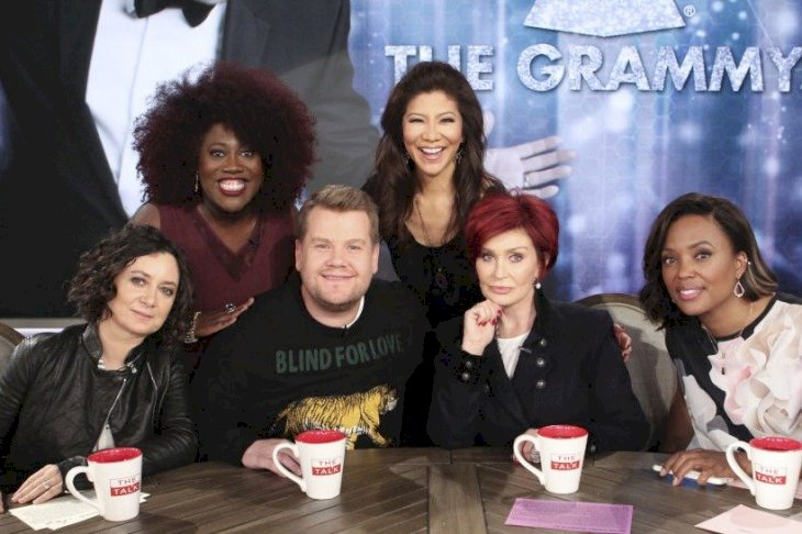Image Credit: Getty Images/CBS via Getty Images/Sonja Flemming | Sara Gilbert with the hosts of The Talk with guest, James Corden