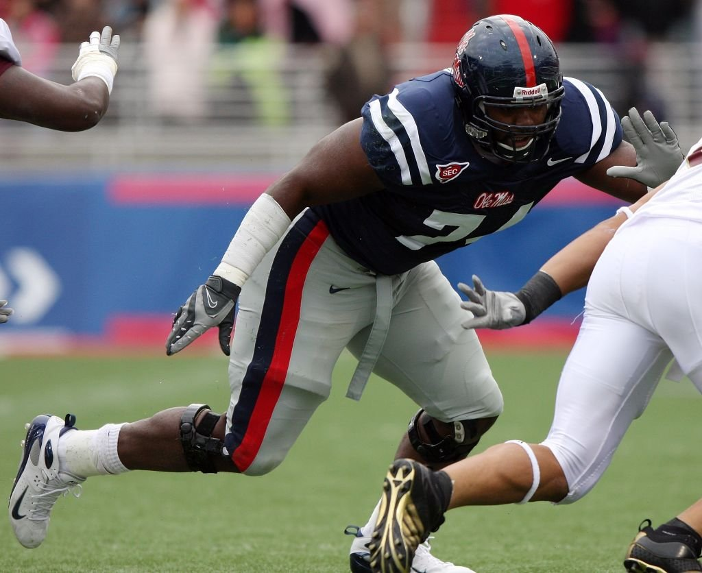 Image Source: Getty Images/Matthew Sharpe | Michael Oher #74 of the Ole Miss Rebels blocks against the Louisiana-Monroe Warhawks during their game at Vaught-Hemingway Stadium on November 15, 2008