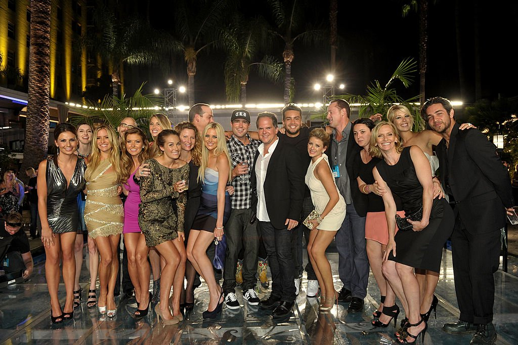 "Image Credits: Getty Images / John Shearer | (L-R) Cast and crew members; Stacie Hall, Kristin Cavallari, Audrina Patridge, Lauren Conrad, Executive Producer Sara Mast, Stephanie Pratt, show creator/executive producer Adam Divello, Brody Jenner, President of Programming for MTV Tony DiSanto, Frankie Delgado, Lauren Bosworth, Executive Producer Sean Travis, Sophia Rossi, Executive Producer Liz Gateley, Holly Montag and Justin Brescia attend MTV's ""The Hills Live: A Hollywood Ending"" Finale event held at The Roosevelt Hotel on July 13, 2010 in Hollywood, California."