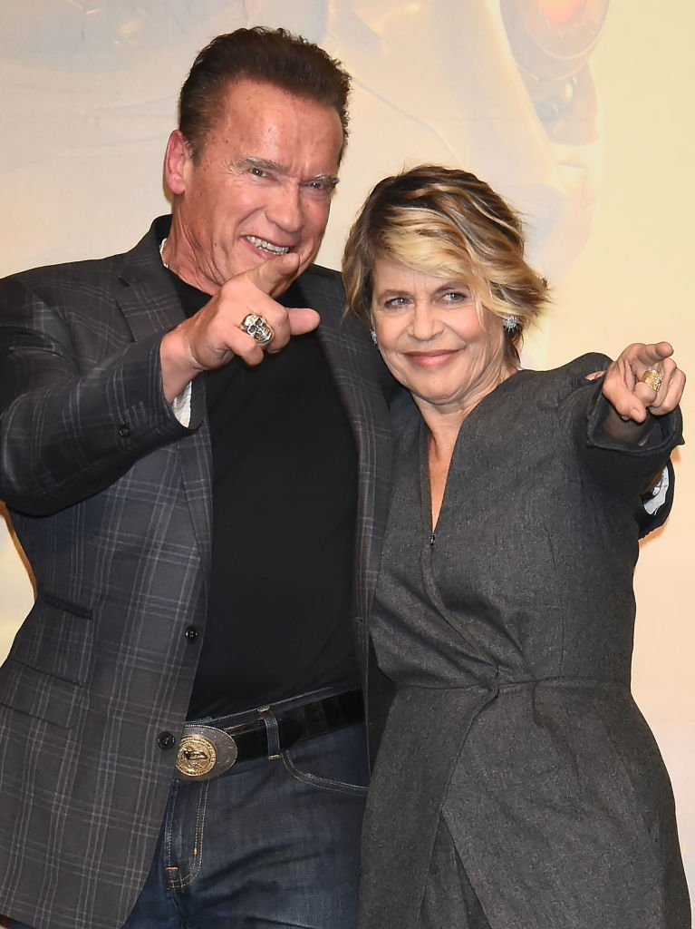 Image Credits: Getty Images / Jun Sato / WireImage | Linda Hamilton and Arnold Schwarzenegger attend the press conference for the Japan premiere of 'Terminator: Dark Fate' on November 5, 2019 in Tokyo, Japan.