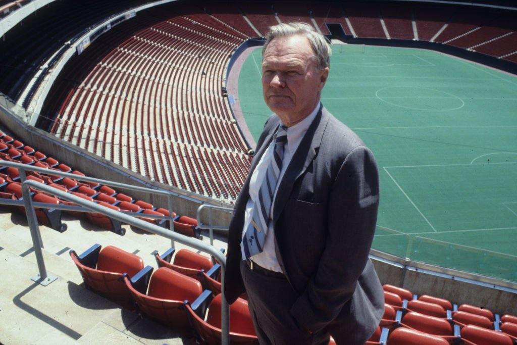 Image Source: Getty Images/Ross Lewis/Owner Wellington Mara of the New York Giants stands at the newly built Giants Stadium on June 15, 1978 in East Rutherford, New Jersey