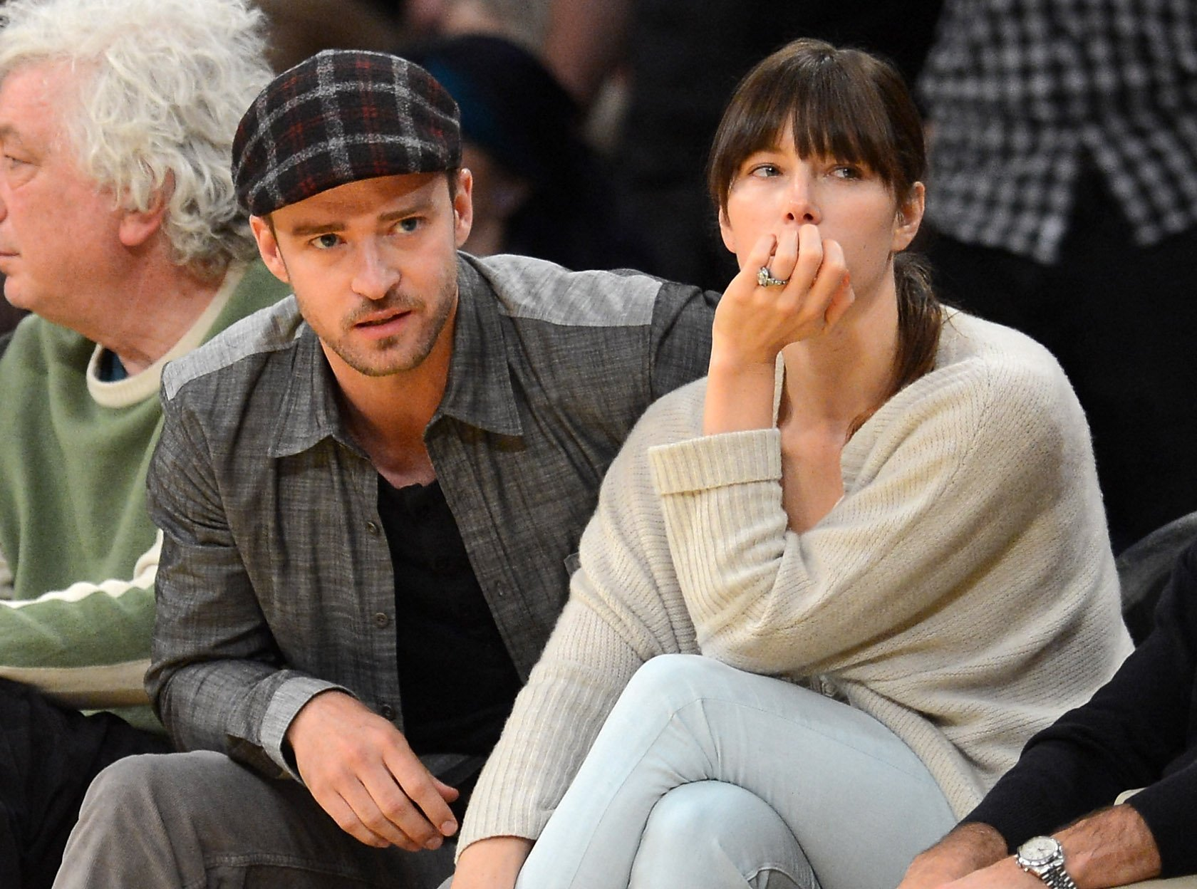 Justin Timberlake and Jessica Biel at Staples Center in Los Angeles / Getty Images