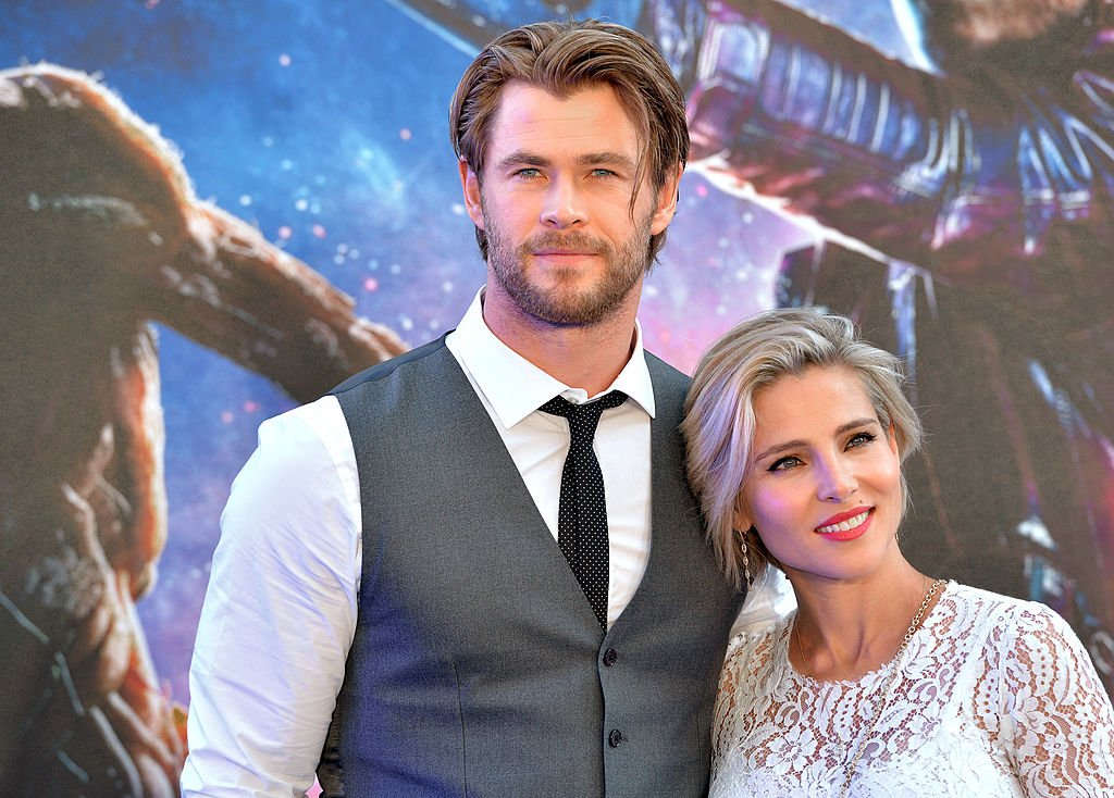 Image Source: Getty Images/Anthony Harvey | Chris and Elsa at the Guardians of the Galaxy premier
