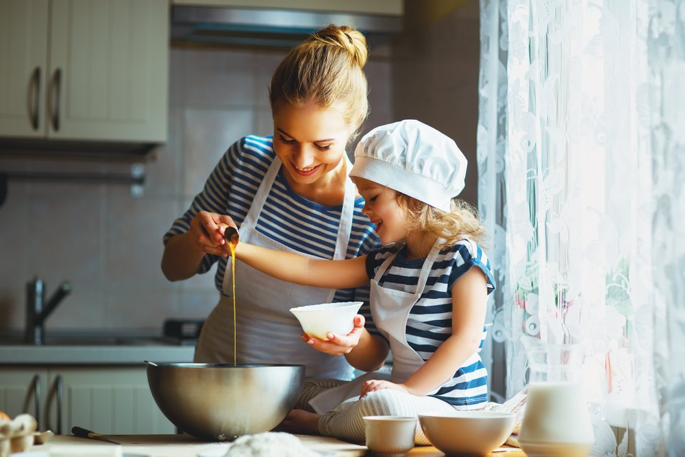 Mother and daughter baking together | Shutterstock