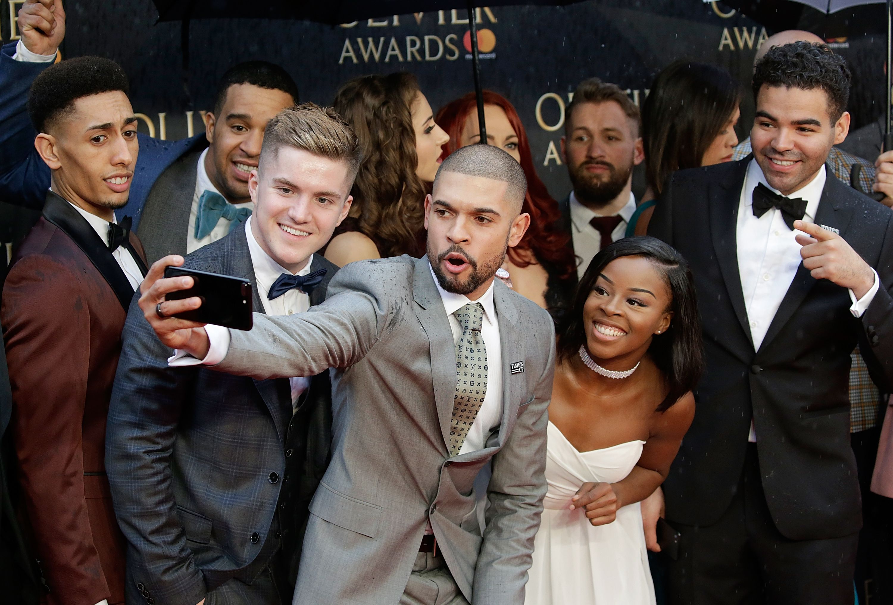 Cast members from 'Hamilton' attend The Olivier Awards at Royal Albert Hall / Getty Images