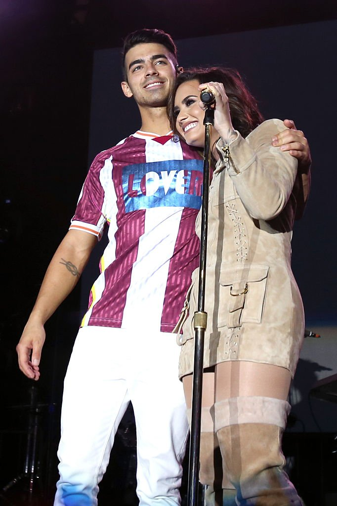 Image Source: Getty Images/Jonathan Leibson/Recording artists Joe Jonas of DNCE (L) and Demi Lovato perform onstage during the Demi Lovato and DNCE Concert for Marriott Rewards members