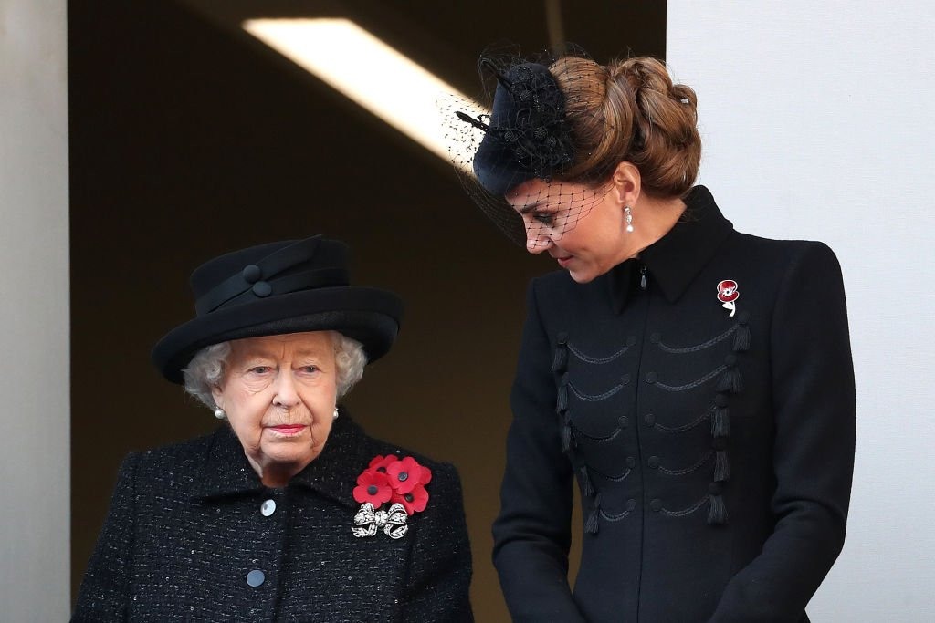 Image Credit: Getty Images / Queen Elizabeth II and Catherine, Duchess of Cambridge attend the annual Remembrance Sunday memorial at The Cenotaph on November 10, 2019 in London, England.
