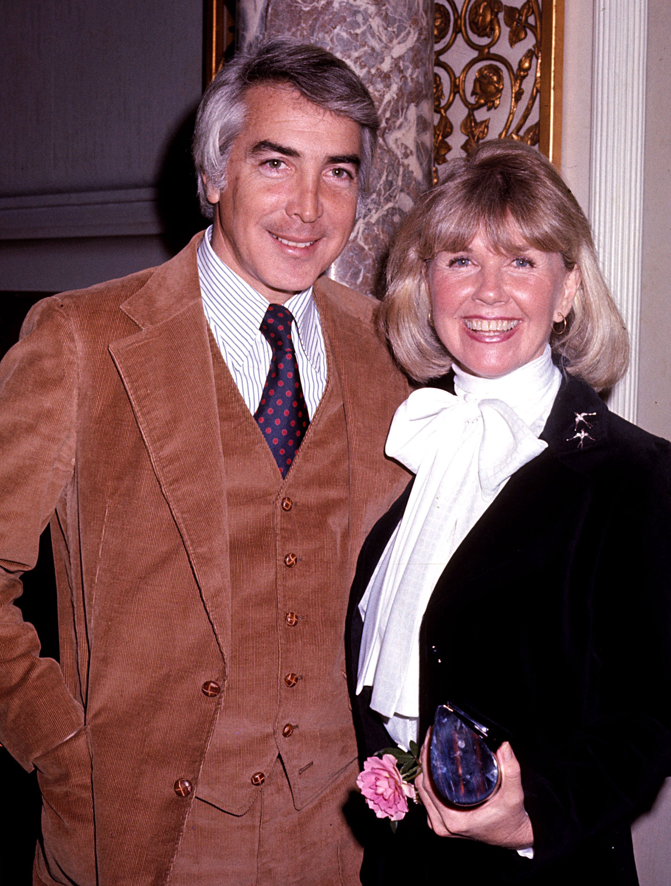 Image Credits: Getty Images / Tom Wargacki / WireImage | Doris Day (1922 - 2019) and husband Barry Comden at the Pierre Hotel.