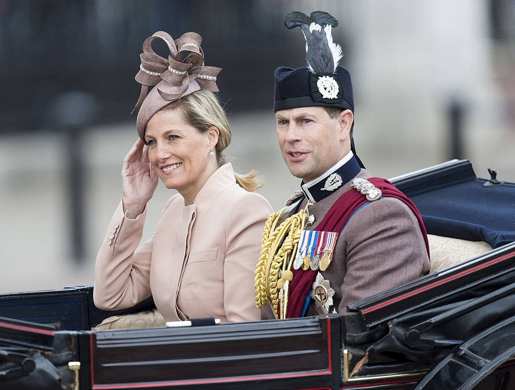 Imgae Source: Getty Images/Mark Cuthbert/Sophie Rhys-Jones, Countess of Wessex and Prince Edward, Earl of Wessex during the annual Trooping The Colour ceremony at Horse Guards Parade on June 15, 2013 in London, England