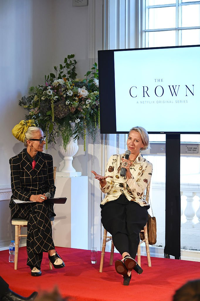 "Image Credits: Getty Images / David M. Benett / Dave Benett | Caryn Franklin (L) and Michele Clapton speak at a presentation featuring costumes from new Netflix Original series ""The Crown"" with designer Michele Clapton at the ICA on October 17, 2016 in London, England."