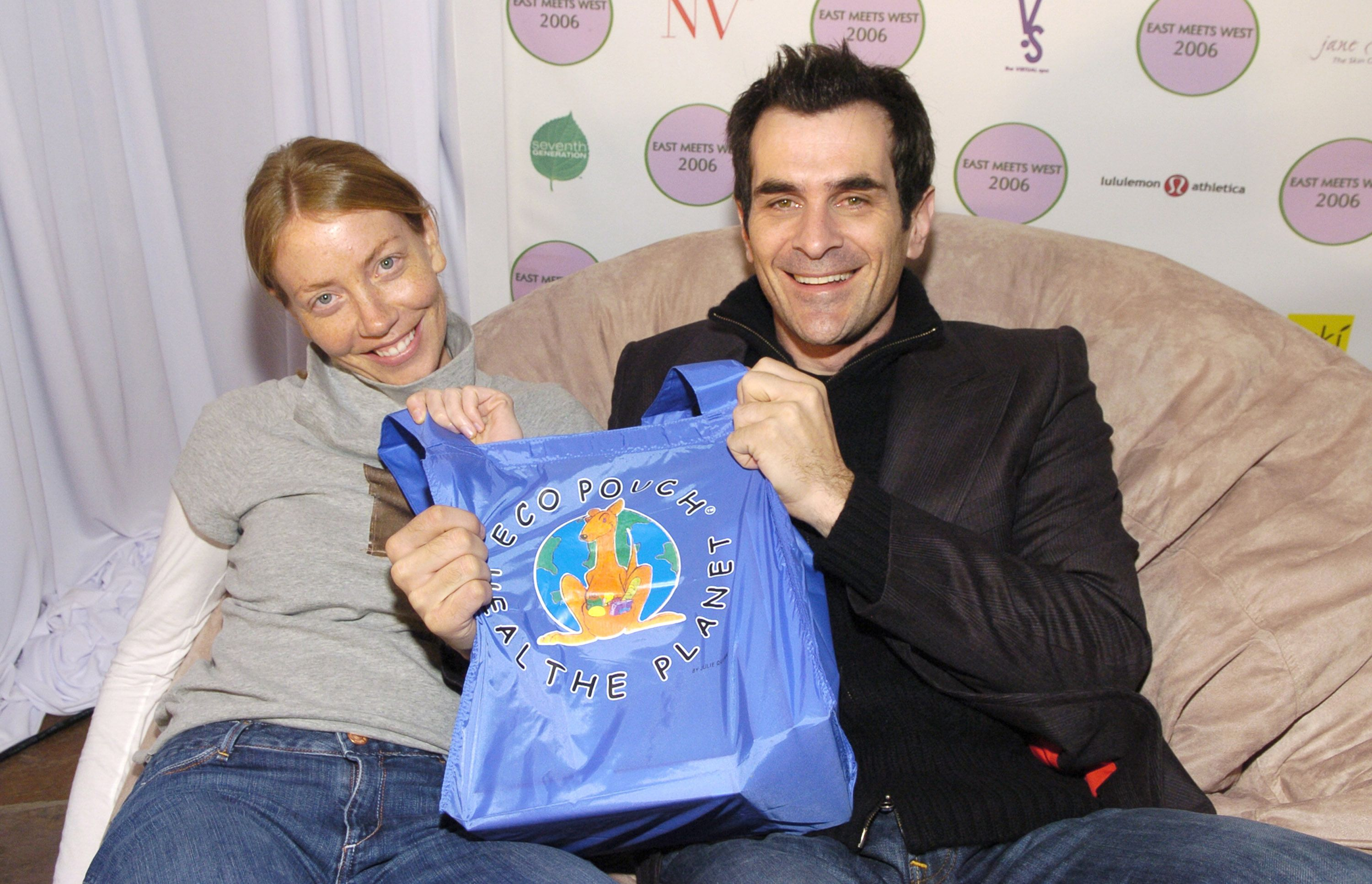 "Holly Burrell and Ty Burrell of ""Out of Practice"" withy Eco Pouch at East Meets West Virtual Spa / Getty Images"
