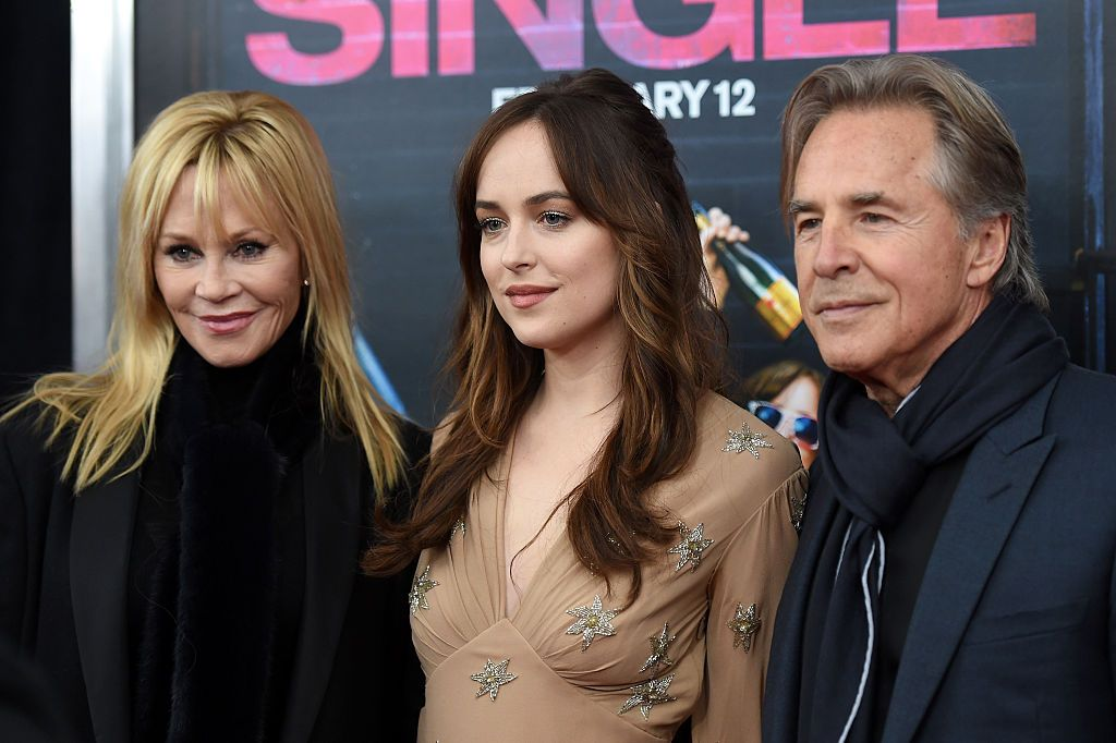 "Melanie Griffith, Dakota Johnson, and Don Johnson at the premiere of ""How To Be Single"" / Getty Images"