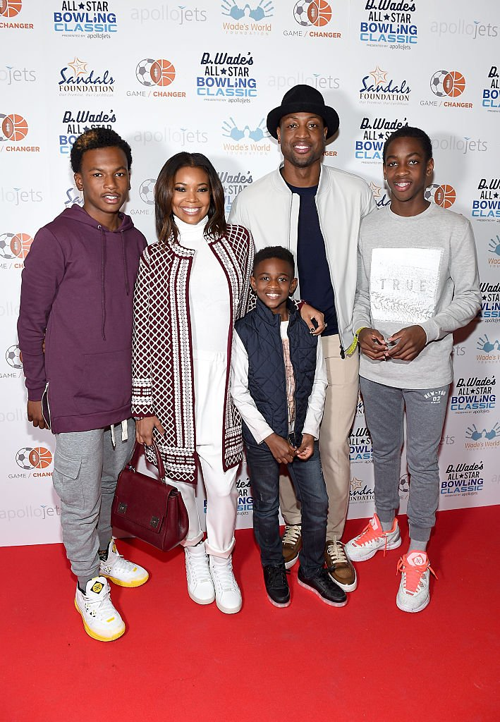 Image Source: Getty Images/George Pimentel/Dahveon Morris, Gabrielle Union, Zion Wade, Dwyane Wade, and Zaire Wade attend the DWade All Star Bowling Classic Benefitting The Sandals Foundation And Wade's World Foundation at The Ballroom on February 13, 2016