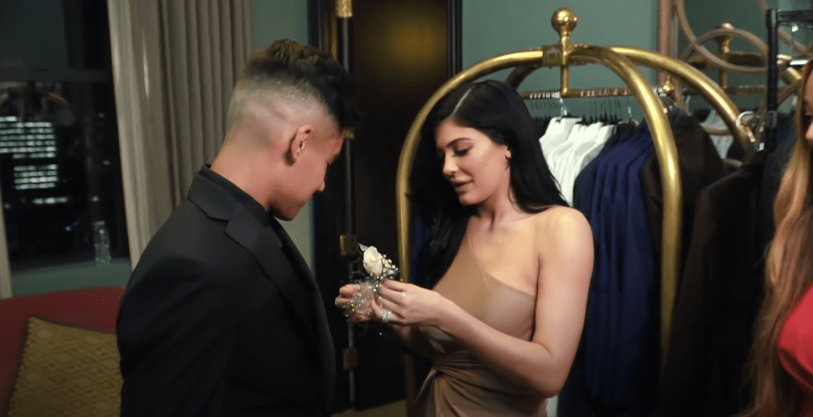 Image Source: YouTube/hayu | Kylie Jenner attends her fan's prom