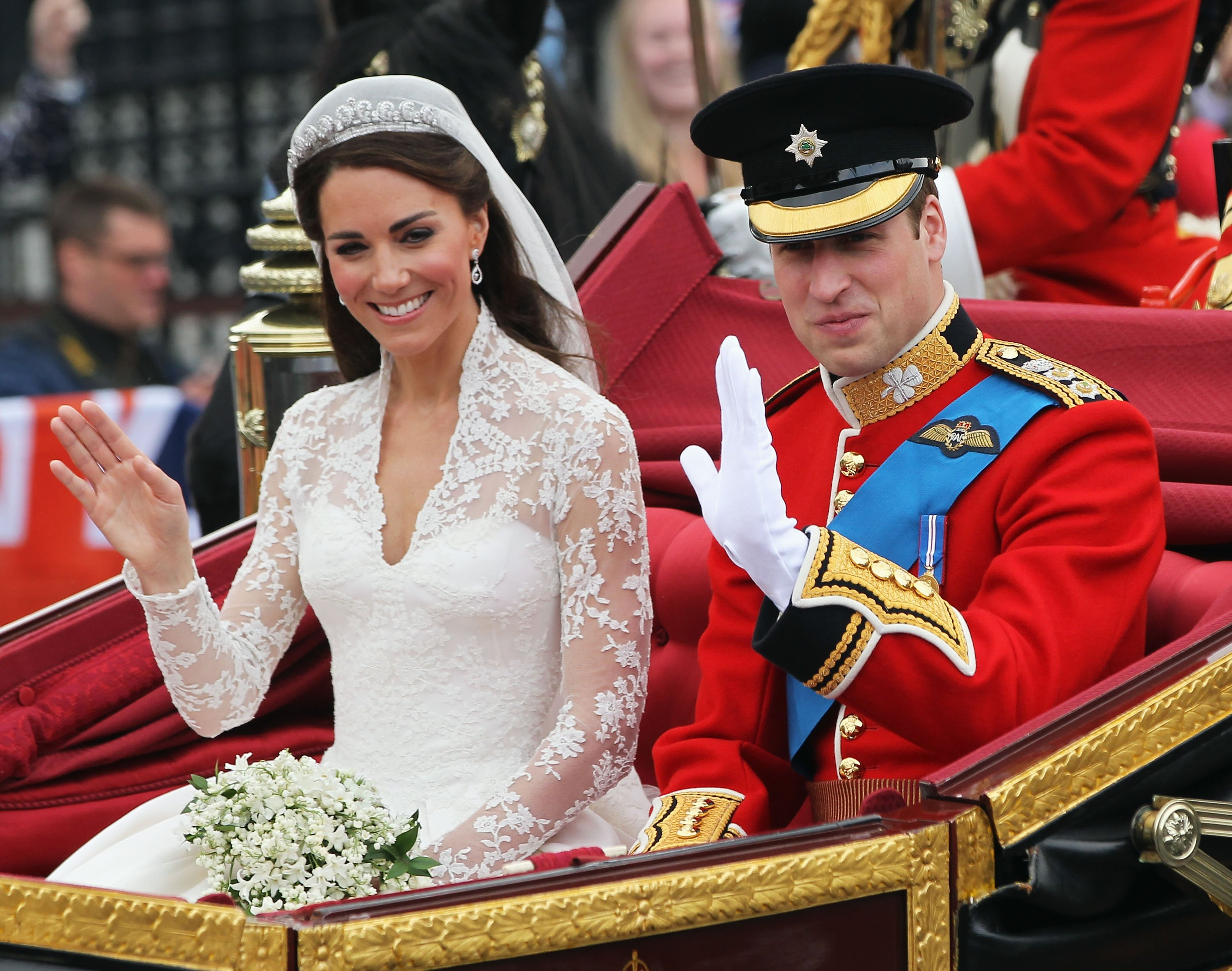 Image Source: Getty Images/Prince William and Duchess during their wedding