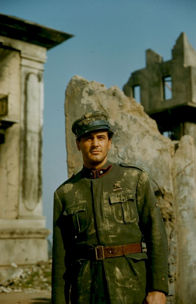 Image Credit: Getty Images/The LIFE Picture Collection via Getty Images/Ralph Crane |Rock Hudson posing near ruins in military uniform, 1958