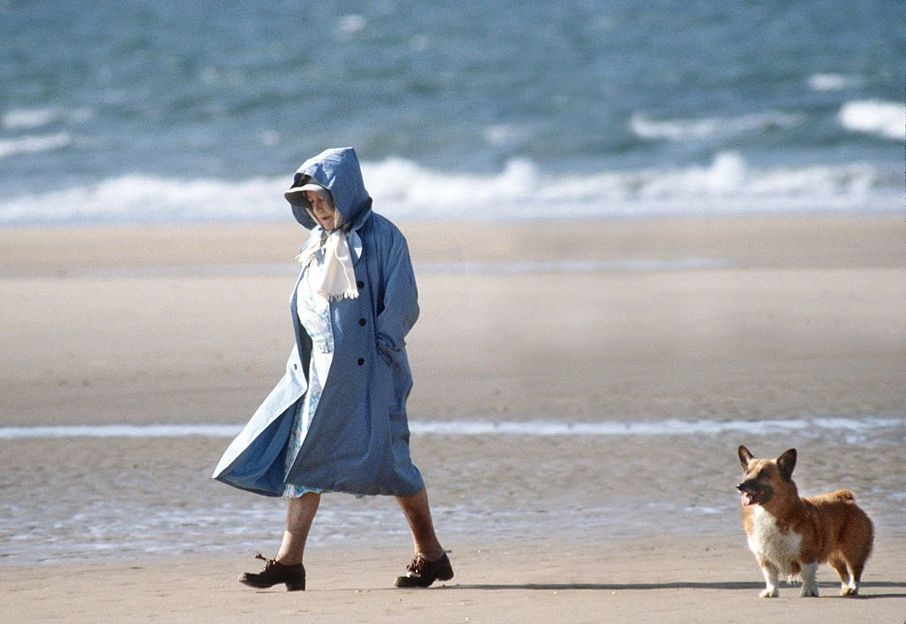 Image Credit: Getty Images / The Queen Mother Walking With One Of Her Friends And Her Corgi On The Beach In Norfolk.