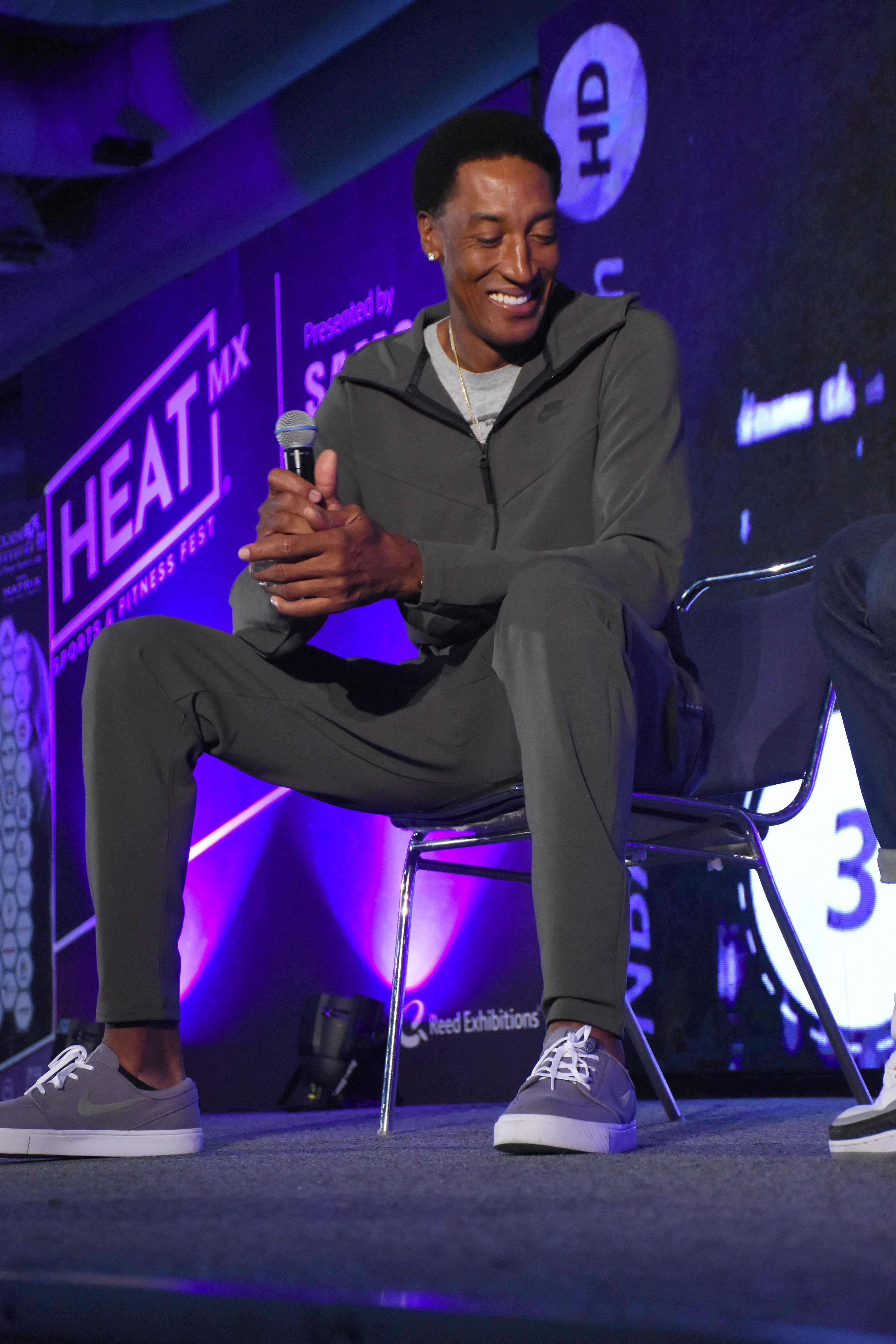Image Credits: Getty Images / Carlos Tischler | Former NBA player Scottie Pippen speaks during a press conference as part of Heat Fest at Citibanamex Center on September 01, 2018 in Mexico City, Mexico.