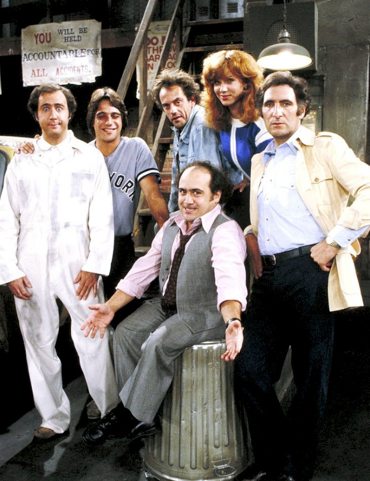 """Image Credits: Getty Images /  TAXI - """"Like Father,Like Son"""" - Season Four - 11/12/81, Pictured: Andy Kaufman (Latka), Tony Danza (Tony), Christopher Lloyd (Jim), Marilu Henner (Elaine), Judd Hirsch (Alex); Danny DeVito (Louie).,"""