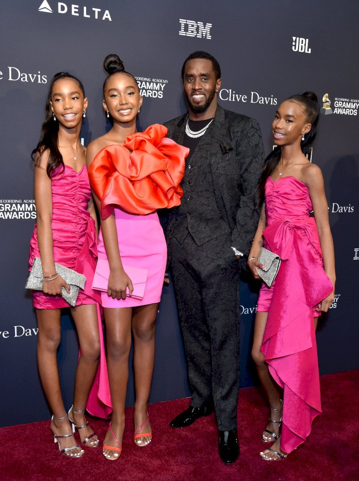 Image Credit: Getty Images/WireImage/Steve Granitz | P. Diddy and his three daughters,D'Lila Star Combs, Chance Combs, and Jesse James Combs