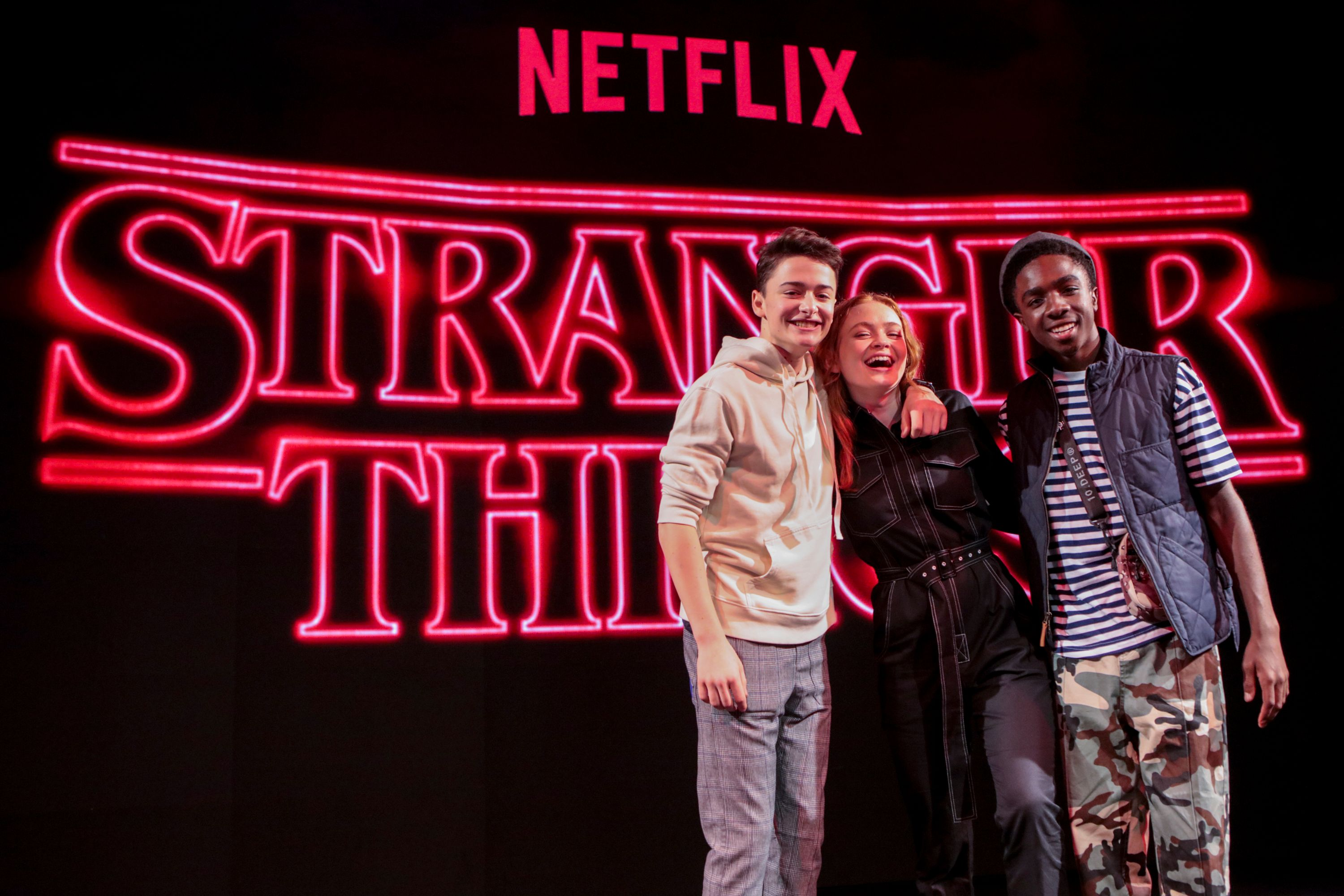 Caleb Mclaughlin, Noah Schnapp, Sadie Sink at the Argentina Comic Con Day 2 in 2018/Photo:Getty Images