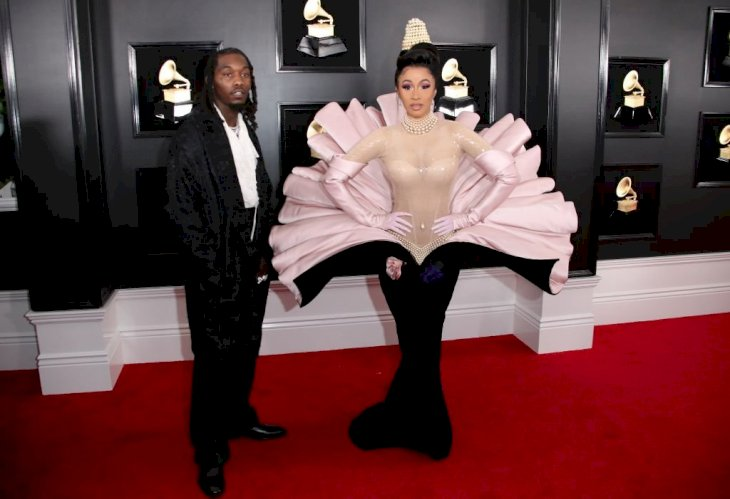 Image Credit: Getty Images / Singer and rapper, Cardi B poses with her former partner, Offset at the Grammys.